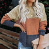 Women Fashion Style Winter Color Block Netted Texture Pullover Sweater