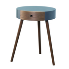 High quality wood leg wooden round coffee table with small drawer