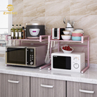 Kitchen Microwave Oven Stand Shelves Pink Extendable Metal Iron Storage Rack Shelf