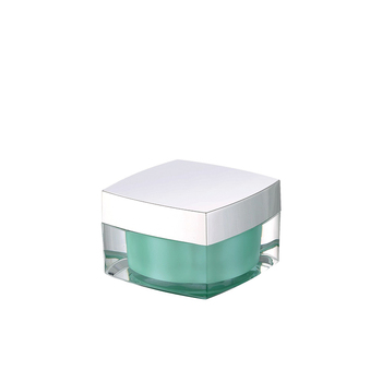 Elegant design square plastic jar cosmetic container 15G 30G 50G acrylic cream jar with lid