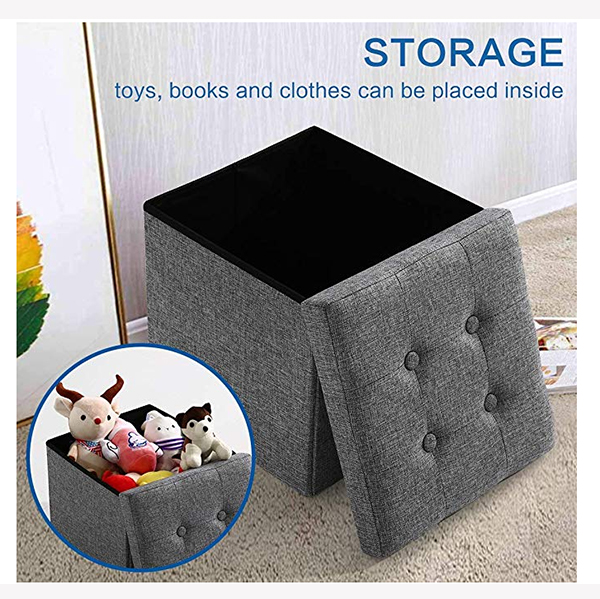 Polyester Fabric Square Folding Storage Ottoman Bed Stool with Buttons