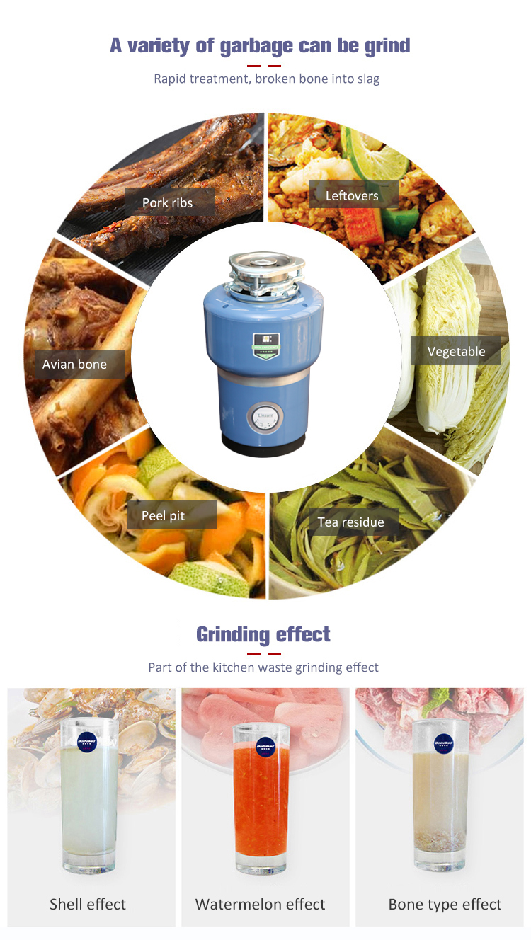 Hangzhou-Desagüe de basura para fregadero de cocina, alta calidad, con cortador de acero inoxidable, sistema de aislamiento acústico
