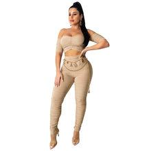 ANJAMANOR, сексуальный клубный костюм из 2 частей, облегающий, с рюшами, с открытыми плечами, укороченный топ и штаны, женская одежда из двух часте...(Китай)