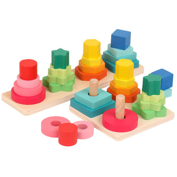 Color Geometric Shape Matching Cognitive 2 In 1 Baby Toys Educational Wooden Block Stacking Toy