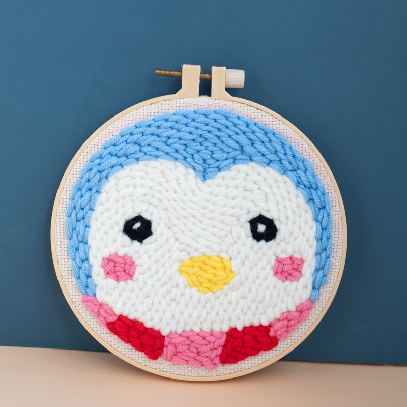 Beautiful Latch Hook Rug DIY Kits With Punch Needle Embroidery Frame and Holder