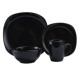 direct from factory ceramic dinner set square 16/20 pcs stoneware black tableware