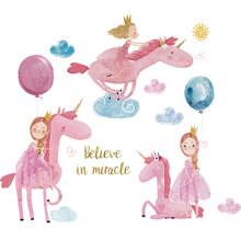 Милые настенные наклейки с единорогом для детской комнаты, для девочек, для спальни, розовые облака, Декор, сделай сам, плакат, мультфильм, жи...(Китай)