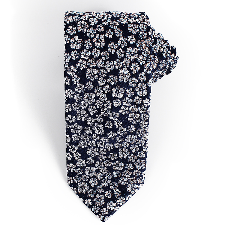 Dacheng New Design Navy <strong>Blue</strong> <strong>Flower</strong> Pattern Jacquard Gravata Floral <strong>Ties</strong> Loop Yarn Silk <strong>Tie</strong>