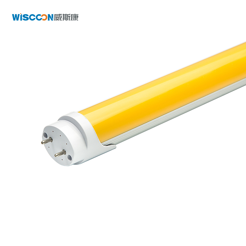 Venta caliente no UV amarillo tubo 2ft 3ft 4ft 5ft 10W 13W 18W 25W T8 anti-UV luces de tubo led