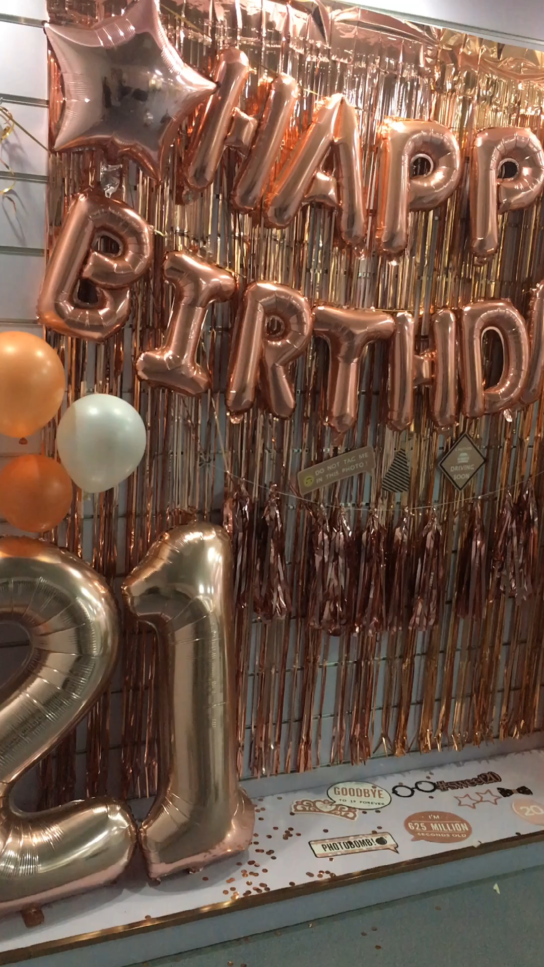 Pafu Rose Gold Birthday Party Supplies Happy Birthday Banner Star Heart Foil Balloons Rose Gold Birthday Party Decoration set