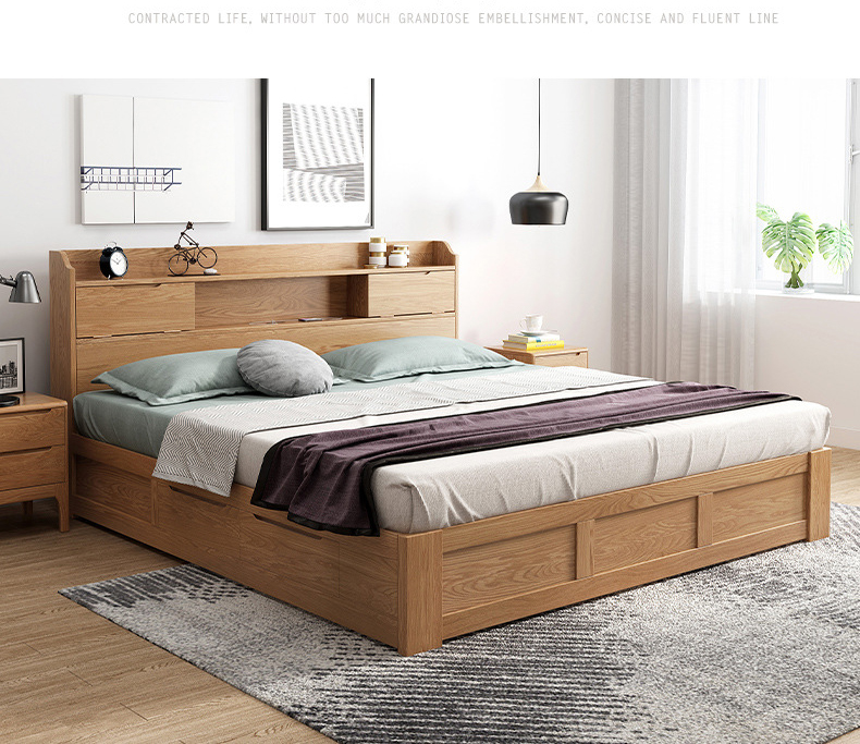 product-BoomDear Wood-Boomdeer Latest Solid Wood Design Bedroom Furniture Double Bed With Drawers An