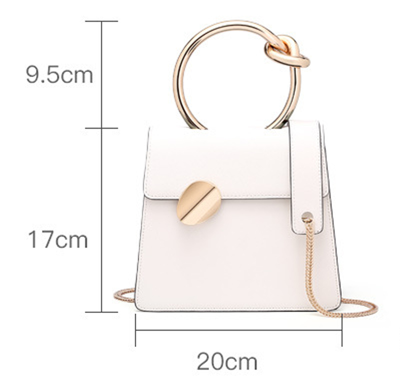 Wholesales Genuine Leather Chain shoulder Straps Evening Bag Custom Ring Handle Women Clutch Handbag