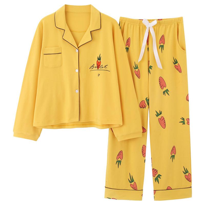 Wanita Musim Dingin Piyama Set Indah Kuning 100% Kapas Tops + Celana Baju Tidur