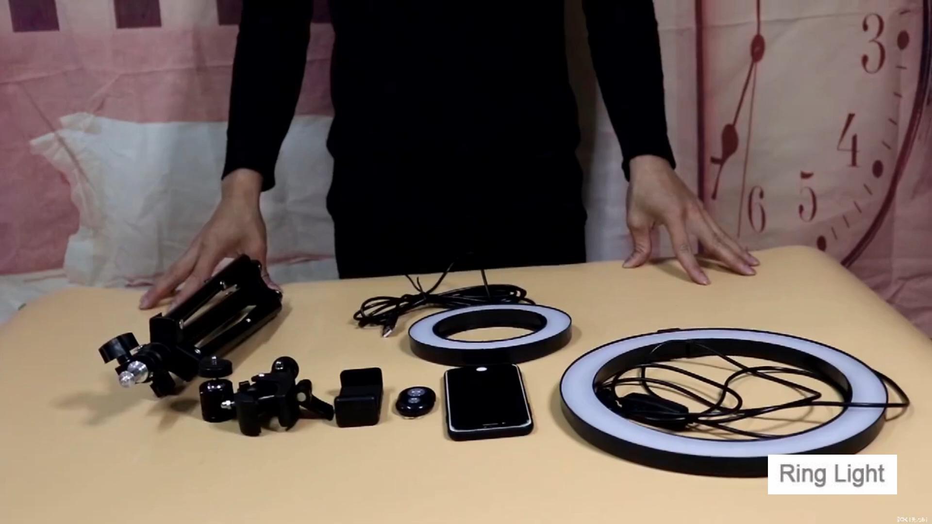 Dimmable טבעת LED מנורת סטודיו מצלמה טבעת אור תמונה טלפון וידאו אור מנורת עם חצובות Selfie מקל טבעת למלא אור