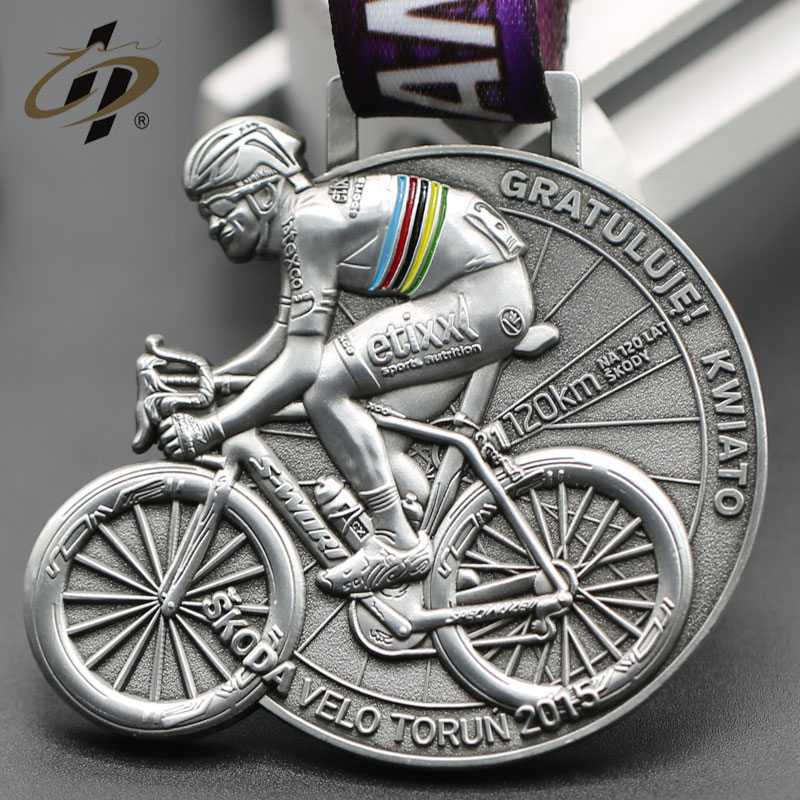 Custom antique silver 3d metal cycling metal sports medals