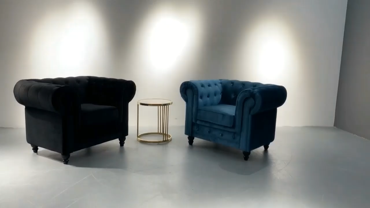 European Style Drawing Room Modern Furniture 3 Seater Blue Velvet Couch Living Room Sofa Chesterfield