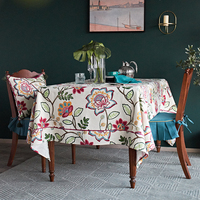 Nabis New design Printed Modern Woven Viscose Linen Floral hand made tablecloth