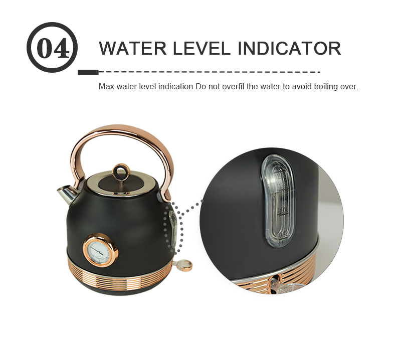 2020 New design retro rose gold and black color big capacity 1.7L electric water kettle home appliances with thermometer kettle