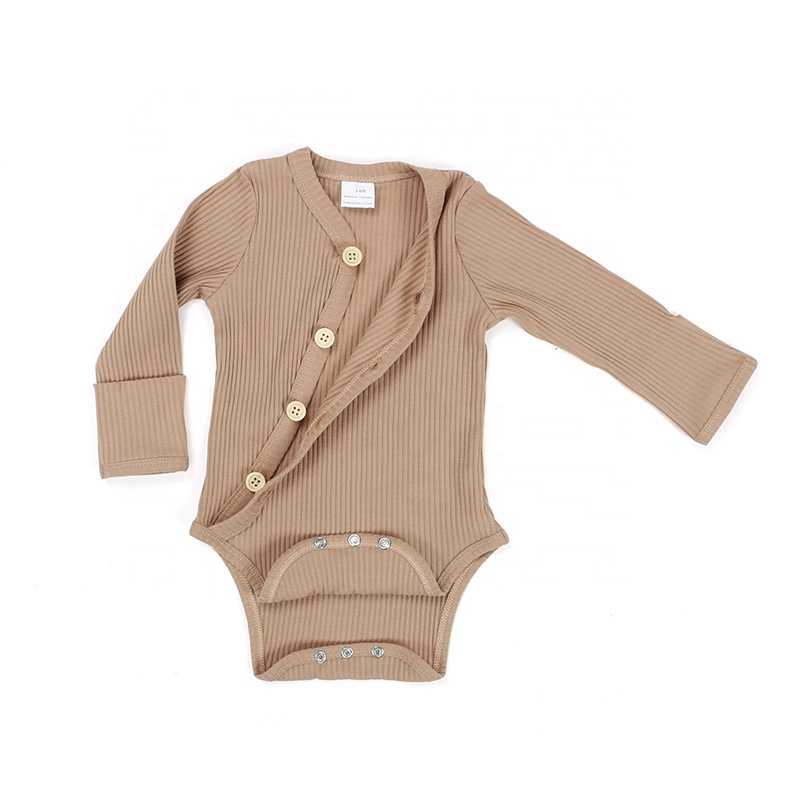 Baby clothes spring fall solid brown wood button mitten cuff long sleeves knit cotton ribbed baby onesie kimino romper