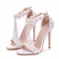 Free Shipping New Design Beautiful Elegant Bridal Wedding Shoes With White Lace And Diamond High Heel Shoes