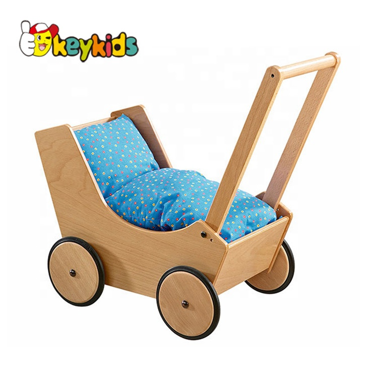 wholesale educational activity walker wooden push cart for baby W16E045