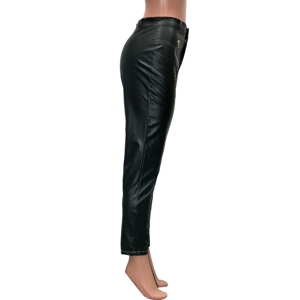 FM-PU006 Custom Logo women leather pants with popular Price high waisted pencil pants