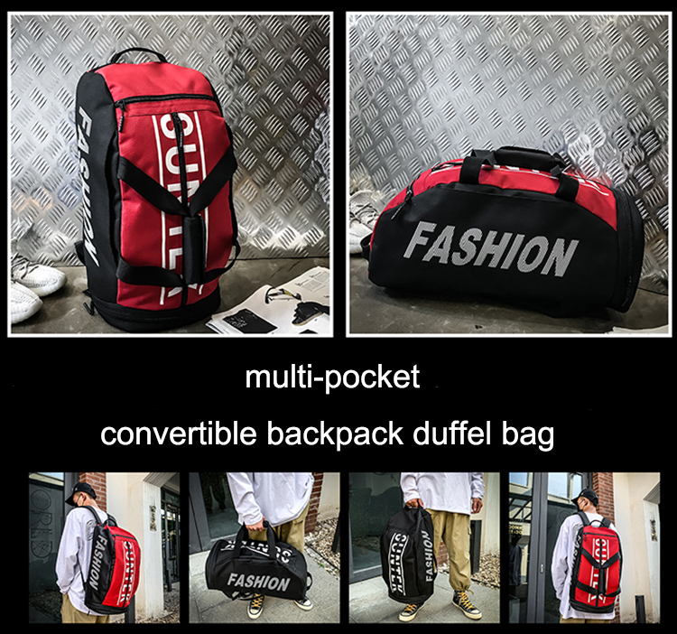 With Shoe Compartment Wholesale Weekend Waterproof Convertible Travel Backpack Duffel Bag