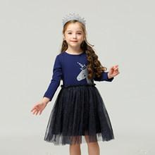 Детское платье принцессы с единорогом Милая весенняя одежда с длинными рукавами для маленьких девочек детские кружевные платья с единорог...(Китай)