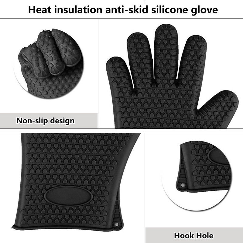 Hot Selling Heat Resistant Silicone Gloves BBQ Grill Oven Mitt