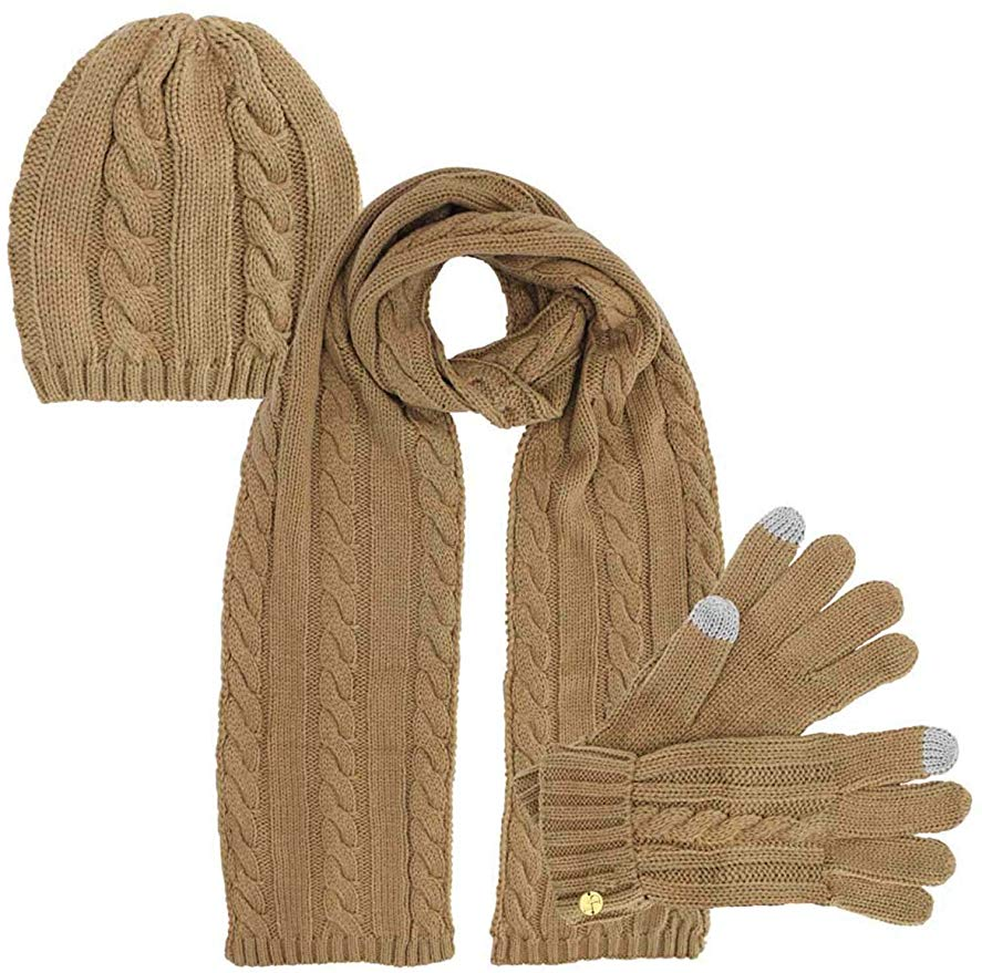 High Quality fashion cheap cotton color Customized Winter Knitted Hat Glove Scarf Set