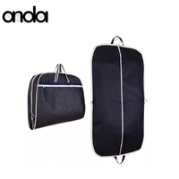 Custom garment bag luxury edge dustproof foldable portable garment packaging bag non woven garment suit cover bag