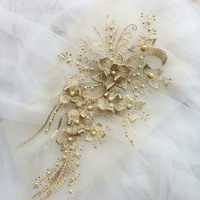 3D Flower Applique Beaded Sequins Flower LACE Patch Embossed Beading lace Appliques Mot For Bridal Wedding Dress