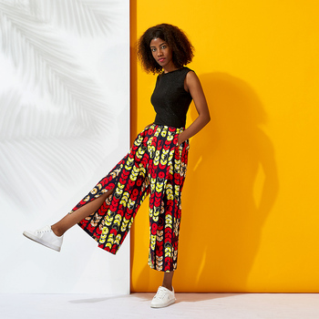Women summer clothes black knit fabric sleeveless top and african ankara print wax fabric pants with side split design