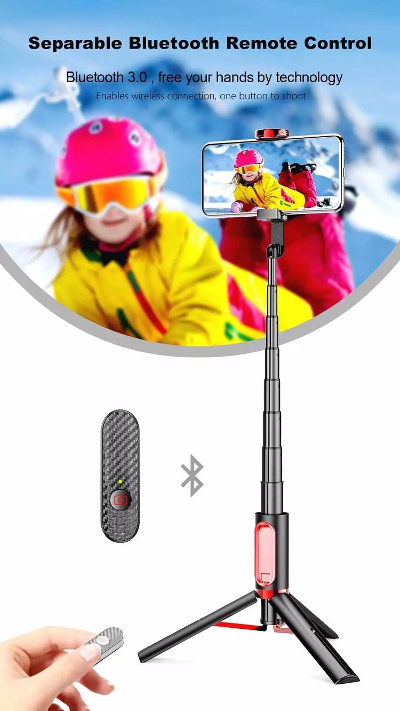 M18 Mini Handheld Wireless Selfie Stick Bluetooth Tripod 3 in 1 Monopod with Remote for Smartphone