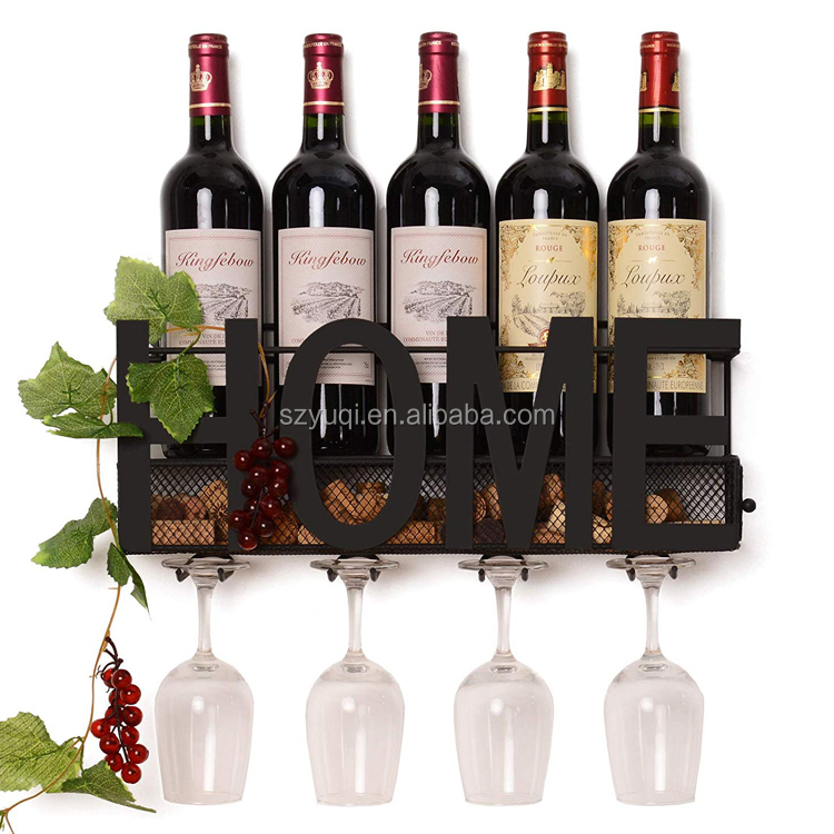 New Arrival Wall Mounted Hanging Wine Cork Holder Holds 4 Bottles and 4 Wine Glasses Metal Wine Rack
