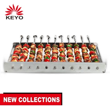Portable Battery Operated Rotisserie Barbecue Kebobs Automatic BBQ Grill with 11 Skewers