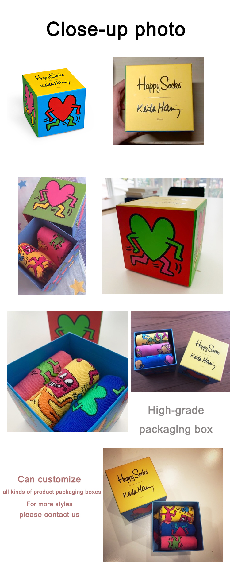 Custom cardboard paper gift box printing drawer packaging boxes for happy socks