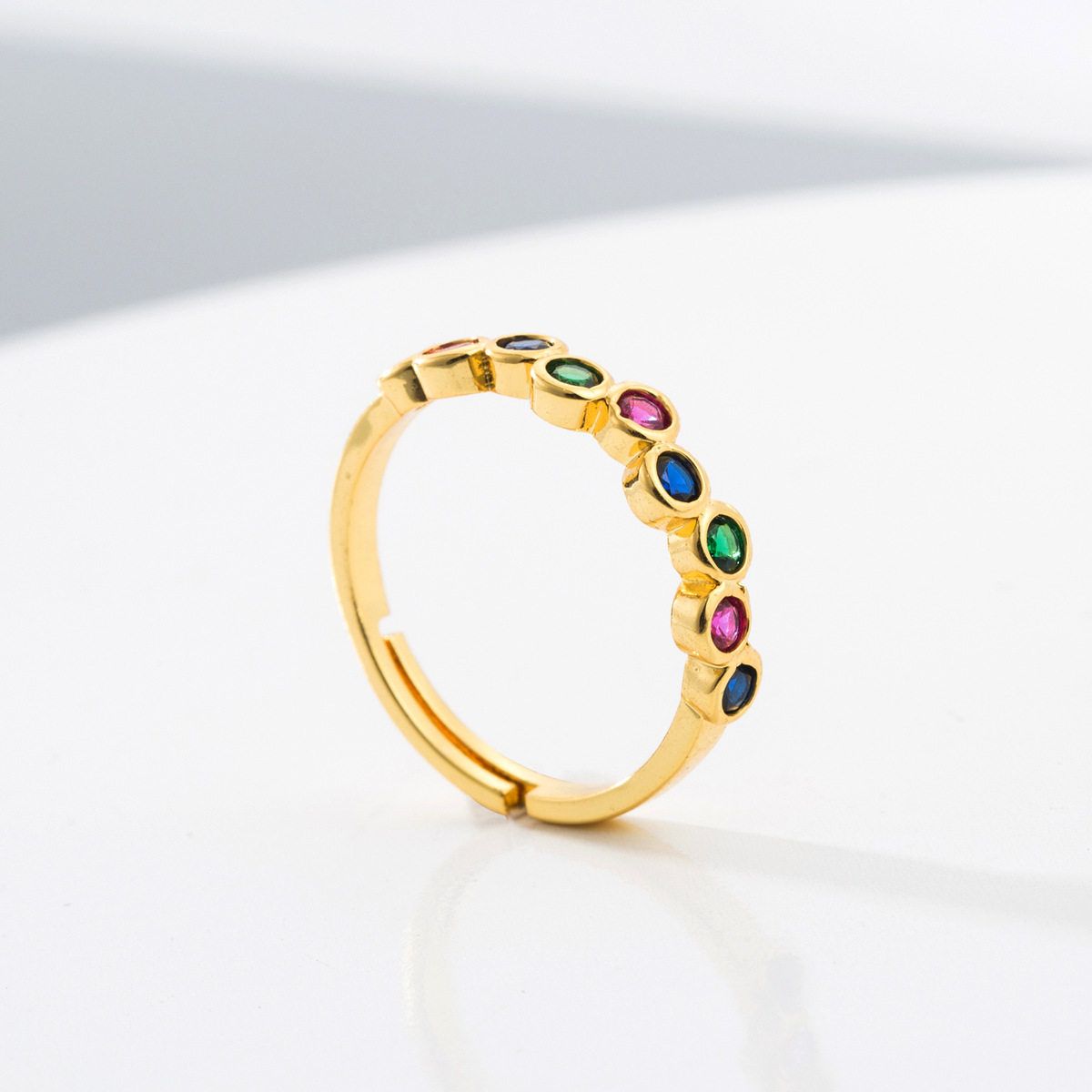 New Baguette Adjustable Colorful Cubic Zirconia Engagement Band Ring Gold Filled Rainbow CZ Ring