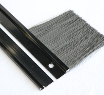 Black Anodized Aluminum Holder Door Bottom Brush Seal Strip