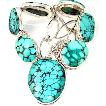 Classic ocean look natural Tibetan turquoise gemstone solid 925 sterling silver necklace