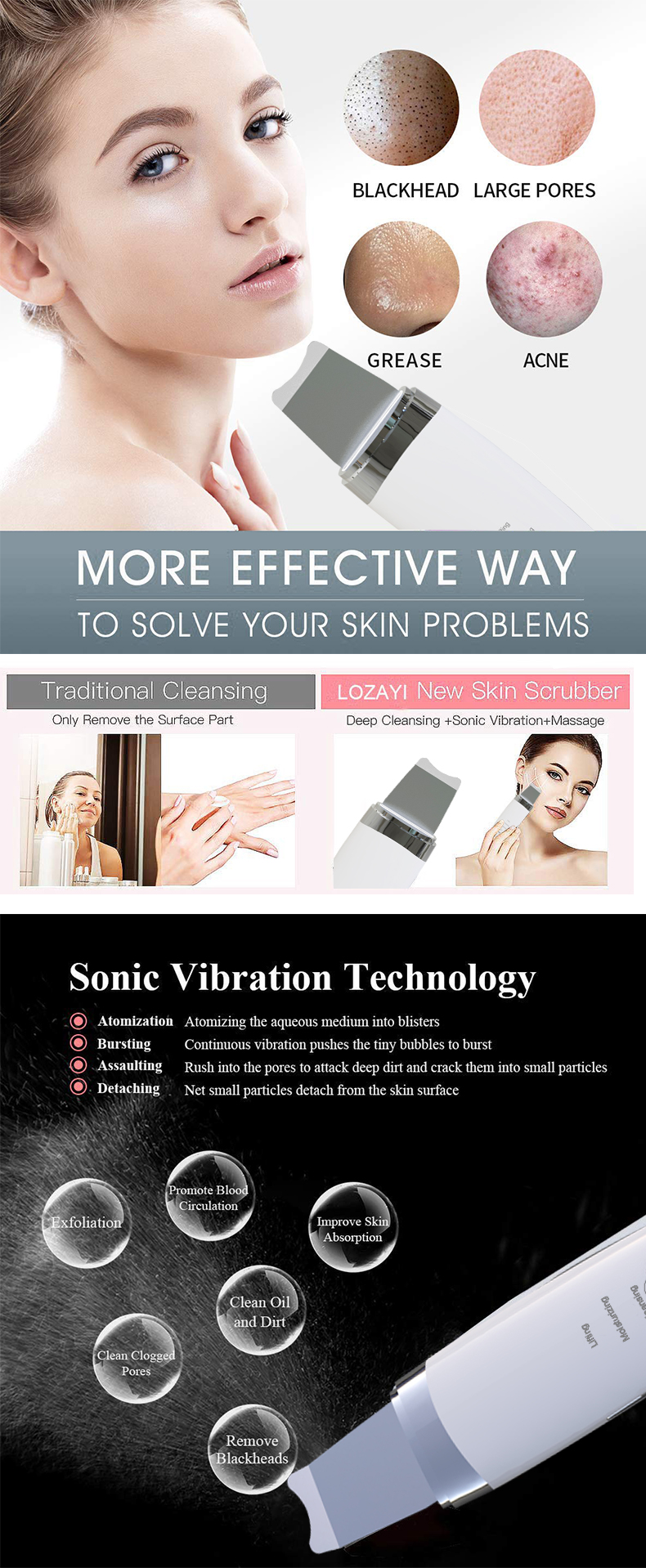 Electric Facial Pore Cleaner Nose Blackhead Ultrasonic Skin Care skin scrubber