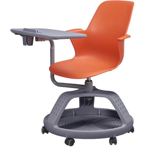 كرسي بعقدة قابلة للطي برتقالي اللون يستخدم للطالبات في المدارس بسعر الجملة مع جهاز لوحي