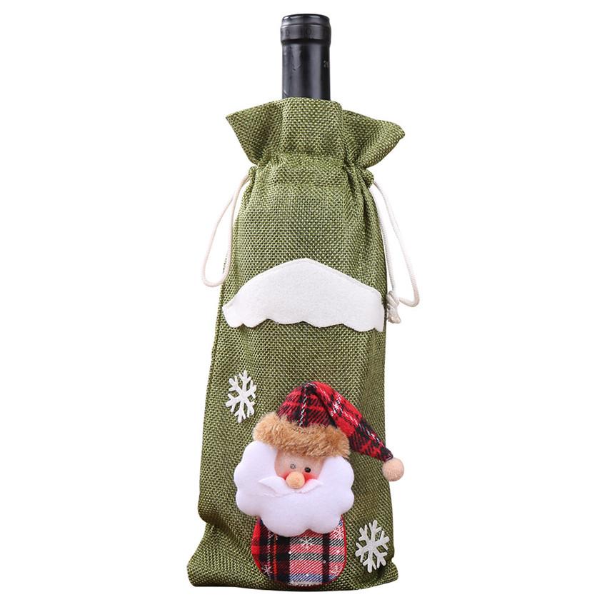 Yeni noel kırmızı şarap şişesi kapağı çanta noel baba ağacı bebek süs yemek masası noel hediyesi dekorasyon noel Stocking