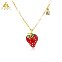 2019 Best Hot Sale Handmade Glitter Fruit Jewelry Enamel 925 Sterling Silver Gold Strawberry Necklace