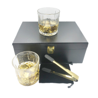 Amazing gold color stainless steel whiskey ice cube and whiskey glass and stone set and whiskey stone rock