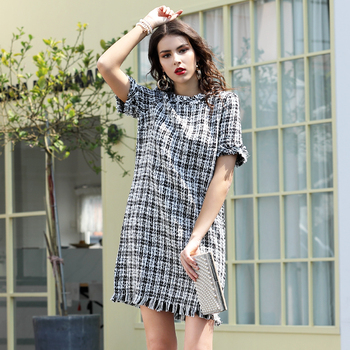 Fringe Trim Tweed Tassels Straight Elegant Dress Short Sleeve Women Casual Dress