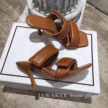 Женские шлепанцы на высоком каблуке, летние туфли без задника из натуральной кожи, белые, черные, кофейные женские модельные туфли(Китай)