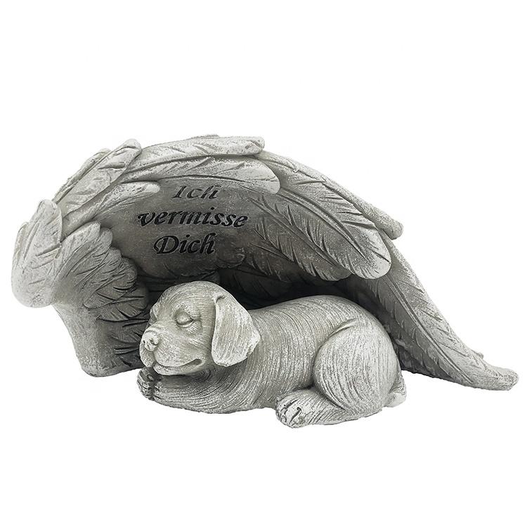 Gato Memorial Adorno Gato durmiendo en ala de ángel Mascota tumba marcador Estatua Figura