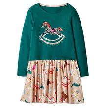 Платье в виде единорога для маленьких девочек, осенне-зимние платья с длинными рукавами для маленьких девочек с аппликацией в виде животных...(Китай)