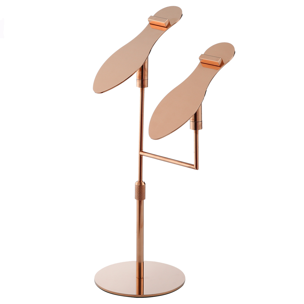 Shoe Boutique High Quality Adjustable Height Rose Gold Metal One Pair Sandal Shoes Display Stand Rack for <strong>Retail</strong>